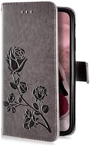 Uposao Kompatibel mit Samsung Galaxy S9 Plus Handyhülle Handytasche Rose Blumen Muster Leder Wallet Schutzhülle Brieftasche Hülle Klapphülle Brieftasche Tasche Flip Case Kartenfächer,Grau