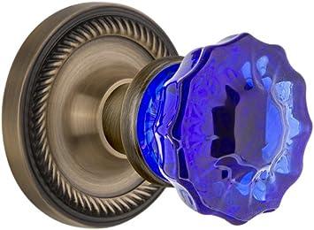 Nostalgic Warehouse Rope Rosette Crystal Cobalt Glass Door Knob Antique Brass
