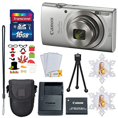 Canon PowerShot ELPH 180 Digital Camera (Silver) 8X Optical Zoom + 16GB Memory Card + Point & Shoot Case – Holiday Accessory Bundle!