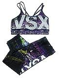 Victoria's Secret VSX Sport Show-Off Sport Bra Tight Leggings Set Night City L