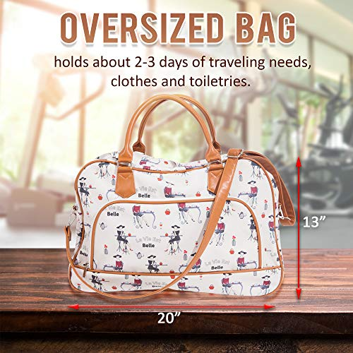Canvas Weekender Bags For Women: Travel Duffle Tote Bag. Elegant Weekend/Overnight Travel Bag Or Totes - Extra Large 20'' by 13'' by Summerease (Image #1)