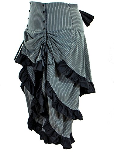 Plus Size Gothic Steampunk Grey Black Pinstripe 3 Tiered Ruffle Tail Skirt (4X)