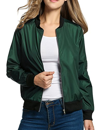 HOTOUCH Women Lightweight Spring and Fall Classic Bomber Jacket(Dark (Classic Letterman Jacket)