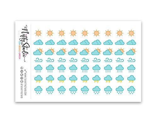 Weather Tracking Stickers | Planner Stickers | 1 sheet of 63 stickers | The Nifty Studio [168] (Weather Stickers)