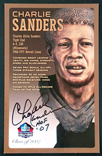 PRO FOOTBALL HALL OF FAME Charlie Sanders Signed Bronze Bust Set Autographed Card with COA (Limited Edition # of 150)