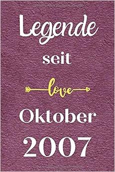 Legende seit Oktober 2007: Notizbuch a5 liniert softcover geburtstag geschenkideen frauen Männer, Geburtstagsgeschenk für Bruder Schwester Freunde kollege, geburtstag 13 jahre