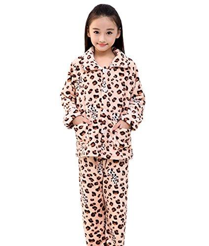 Kid Girls' Leopard Print 2 Piece Fleece Button Front Pajama Set 10-11