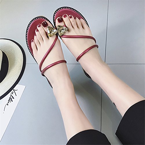 Cute Backless Red Night Dark Toe Rhinestones Women Flats Ring Studded Slippers Good wEPCqxd0P