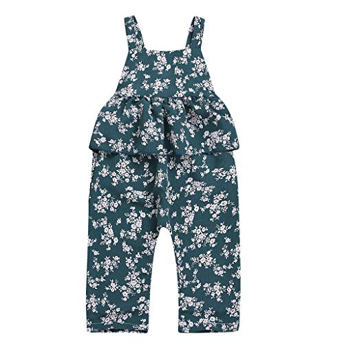 UCQueen Summer Rompers for Baby Girls Toddler Kids Floral Print Strap Ruffled Romper Jumpsuits Sunsuit Sunsuit Clothes Green