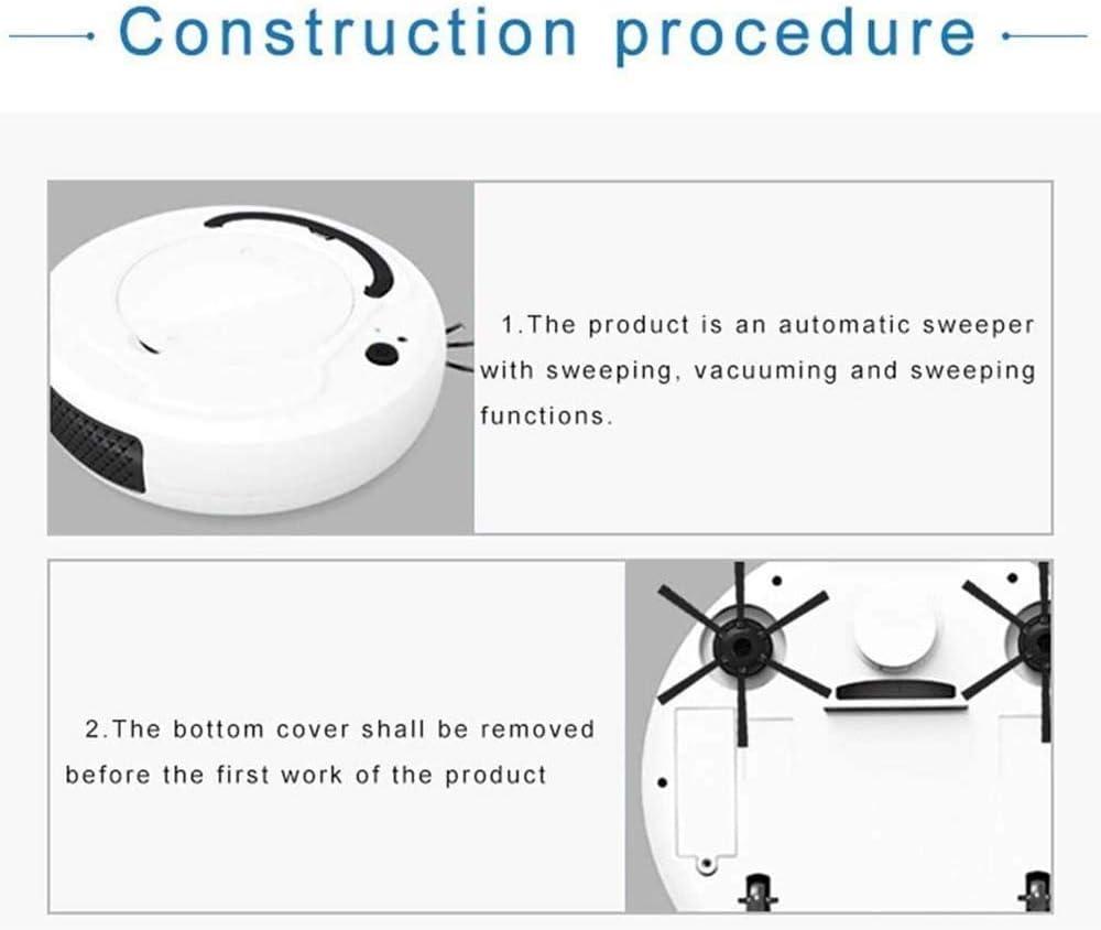 LIUCHANG Multifonction Intelligent Sol Aspirateur Robot 3-in-1 Auto Rechargeable Intelligente Balayer Robot à Sec Humide sous Vide Balayer, Blanc liuchang20 (Color : Black) White