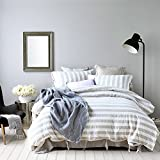 Pure Linen Queen Size Duvet Cover with Matching Pillow Covers - 100% Pure French Linen Water Wash Bedding Sets with Beige Stripes - Strap Style Buttons Pillow Shams