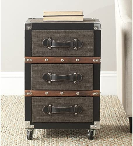 Safavieh Home Collection Lewis Black, Brown Silver 3 Drawer Rolling Chest