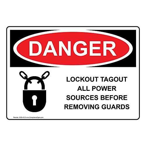 Danger Lockout Tagout All Power Sources Before Removing Guards OSHA Safety Label Sticker Decal, 5x3.5 in. 100-Pack Vinyl for Machinery by ComplianceSigns