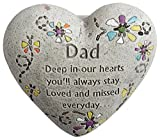 "Nantucket Home Dad Engraved Painted Heart Father Memorial Garden Stone, Cement Construction, 6""L x 6""W x 3""H"
