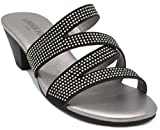 London Fog Womens Novello Heeled Dress Sandals Black 6.5 M US