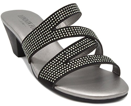 Womens Sandal Sandals Pro (London Fog Womens Novello Heeled Dress Sandals Black 6.5 M US)