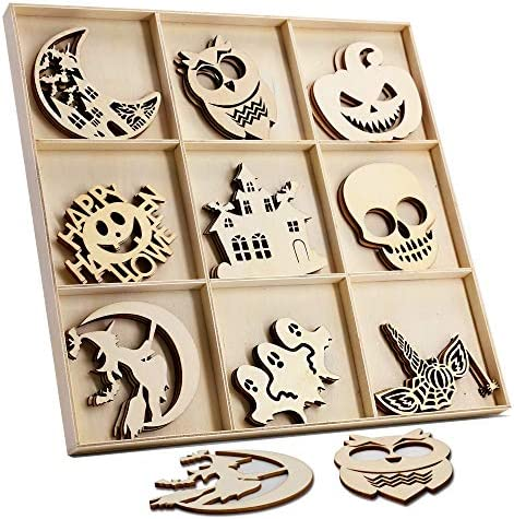 27 Pcs Halloween Wooden Gift Tags Blank Wooden Decorative Hanging Ornaments Cutouts Crafts27 Pcs Twine Ropes for Kids Halloween Tree Decoration(Witch)