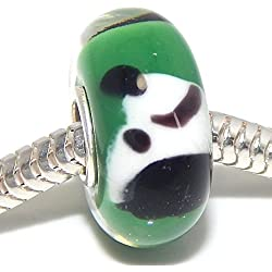 925 Solid Sterling Silver Green Background with Black and White Dog Glass Charm Bead