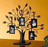 """Philip Whitney Bronze Family Tree of Life Centerpiece Display Stand with 4 Hanging Photo Picture Frames, 13"""" W, Medium"""