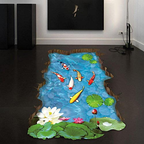Fheaven 3d Stream Floor Wall Sticker Removable Mural