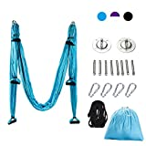 CO-Z Aerial Yoga Swing Sling Strong Yoga Hammock Kit Set Trapeze Inversion Exercises Include Ceiling Mounting Kit and 2 Extensions Straps (Blue (Without mounting kit))