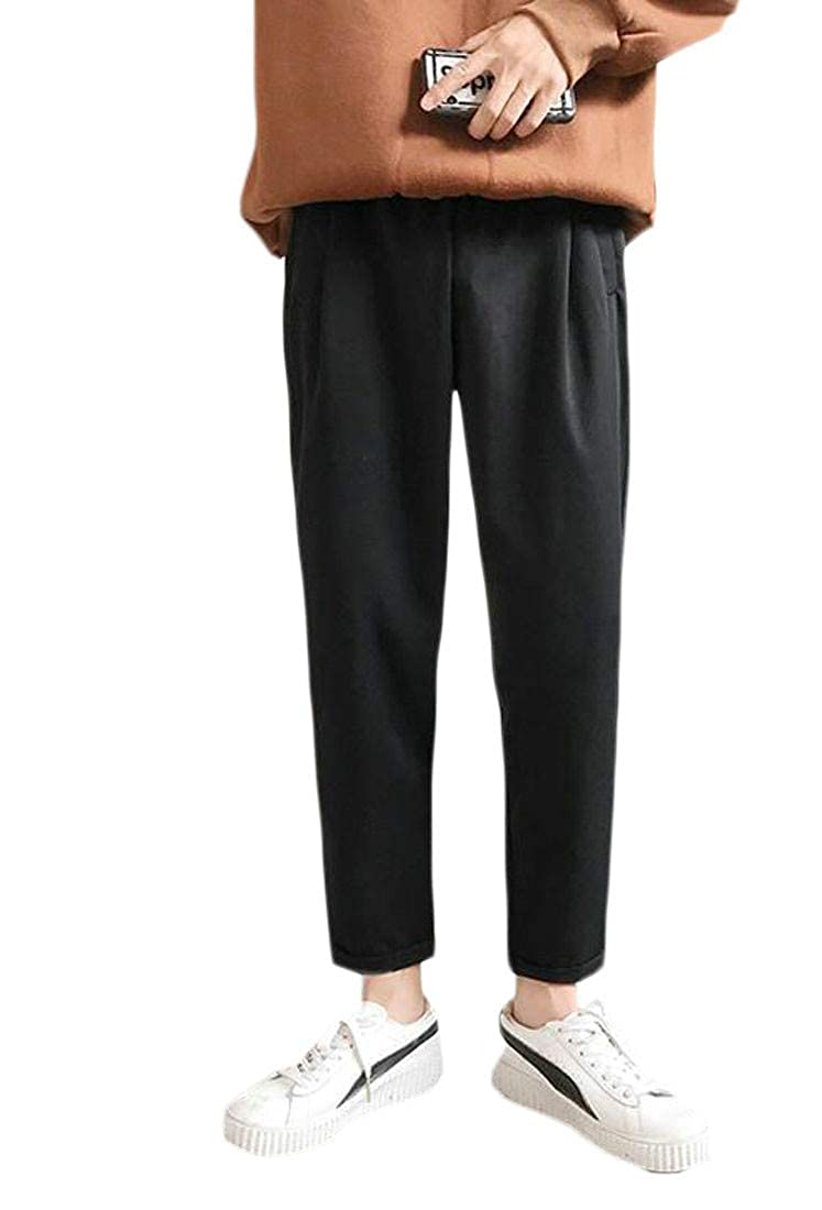 Pandapang Mens Solid Casual Sport Fleece Harem Trousers Pants