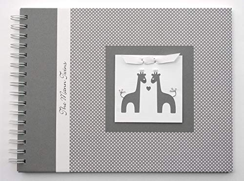 Twin Baby Memory Book - Personalized Journal for Babies (8 Center Designs) - Gray & White Dots ()