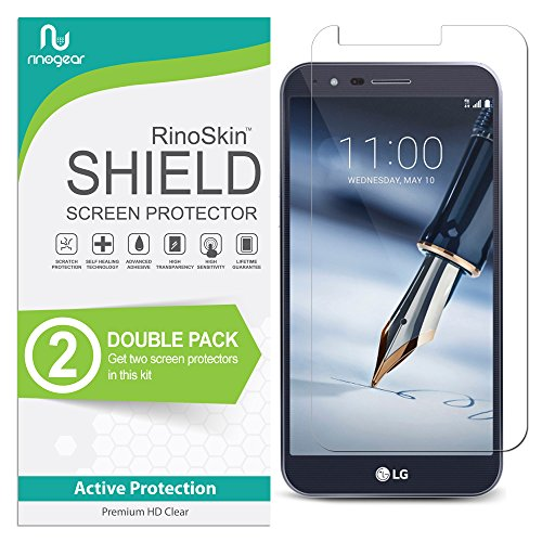 LG Stylo 3 Plus Screen Protector [2-Pack] (Edge-to-Edge) RinoGear Flexible HD Crystal Clear Anti-Bubble Unlimited Replacement Film