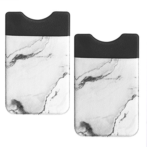 COSMOS Pack of 2 Back Self Adhesive ID Credit Card Pocket Wallet Pouch Sleeve Holder Cellphone (White Marble Pattern)