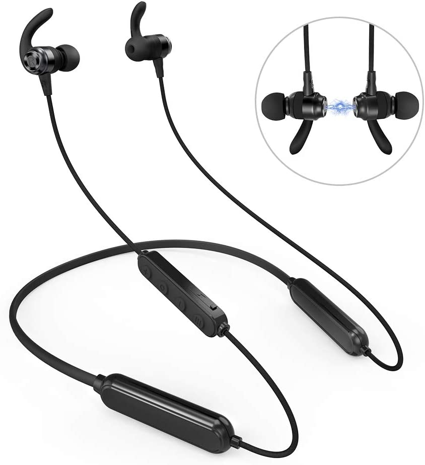 Wireless Headphones, 46H Playtime Bluetooth Headphones IPX6 Waterproof Earphones, HiFi Stereo Magnetic in-Ear Headphones for Running Sport with Microphone, Volume Control Hand Free Calls Black