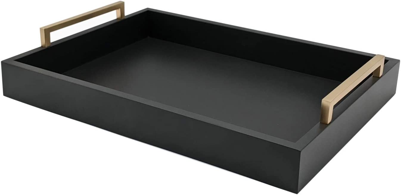 Montecito Home Decorative Coffee Table Tray - Ottoman Tray - Breakfast, Drinks, Liquor Serving Platter - from Farmhouse to Modern - Matte Finish - Champagne Gold Handles - Pitch Black