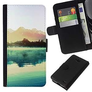 NEECELL GIFT forCITY // Billetera de cuero Caso Cubierta de protección Carcasa / Leather Wallet Case for LG OPTIMUS L90 // Hermoso lago y montañas