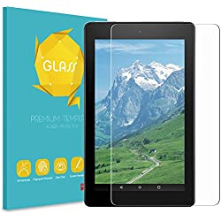 Fintie Screen Protector for All-New Amazon Fire 7 (7th Generation, 2017 Release), [9H Hardness] Tempered Glass Ultra Clear [Scratch-Resistant] Screen Protector Film for Fire 7 Tablet 2017
