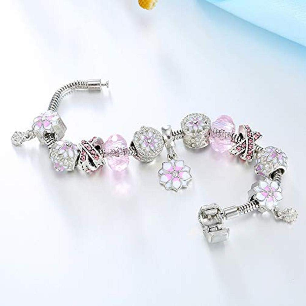 20cm Noopvan 1X Fashion Elegant Christmas Bracelet Crystal Charm Flower Large Hole Beaded Hand Chain for Womens Girls Party Wedding Jewellery