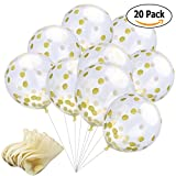 SpotOn 20pcs Of 12 Inches Party Balloons With Golden Paper Confetti Dots (Confetti Included Within The Balloons) For Party Decorations Wedding Decorations And Proposal, Anniversary, Bridal Showers