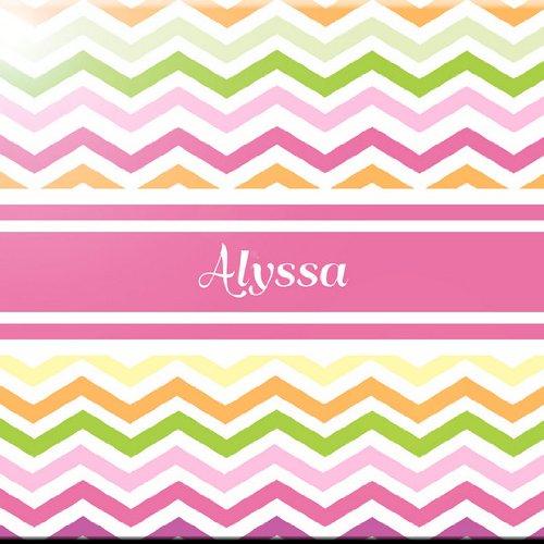 Rikki Knight Alyssa Name Design Art Ceramic Tile Pink Chevron 4 by 4-Inch