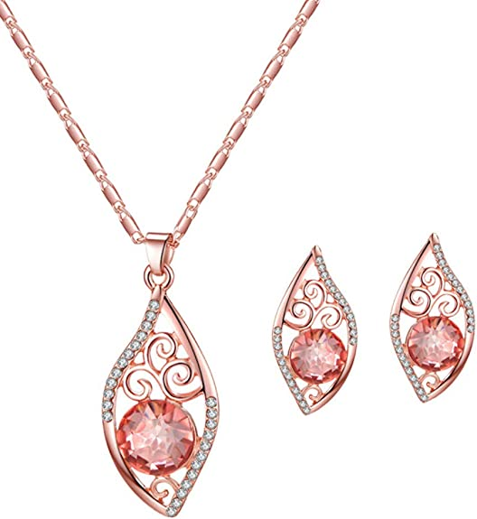 Infgreate Fashion Charming and Elegant Halloween Jewelry for women,Hollow Petal Water Drop Rhinestone Charm Stud Earrings Necklace Lady Jewelry Set