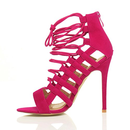 Shoes Sandals Suede High Fuchsia Ajvani Ghillie Women Pink Heel Size wTRzqXS
