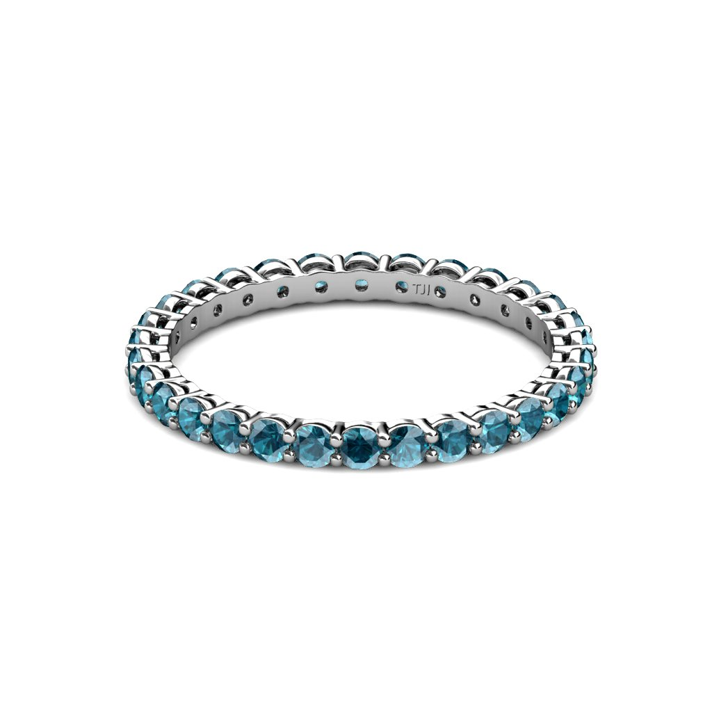 TriJewels London Blue Topaz 2mm Gallery Shared Prong Eternity Band 0.91-1.09 ctw 14K White Gold.size 6.5 by trijewels (Image #3)