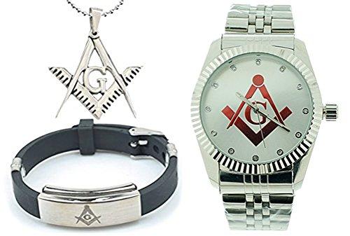 3 Piece Jewelry Set - Freemason Pendant, Bracelet & Masonic Watch on sale. Red Lodge Masonic Logo Compass & Square - Full Silver Color Steel Band / Face. Freemason Watch - Lodge Red Leather