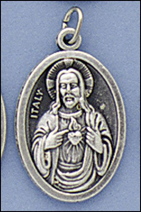 Gifts by Lulee, LLC Sacred Heart of Jesus and Immaculate Heart of Mary Pray for Us Medal Silver Oxidized Blessed by Pope (Heart Jesus Medal)
