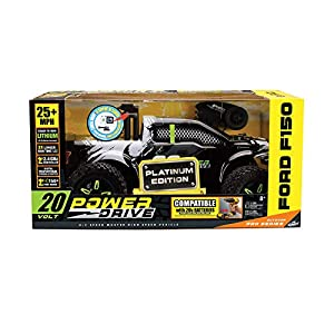 Kid Galaxy 20V Ford F150 Remote Control Truck, Platinum Ed. 1/10 Scale, Fast 25 mph All Terrain Off-Road RC Car. RTR Rechargeable (Color: Black)