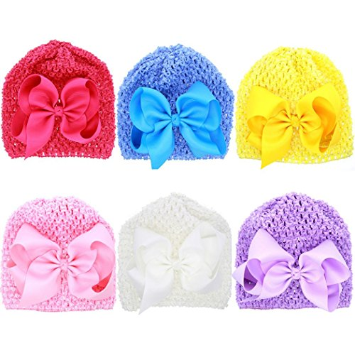 [Veenajo 6PCS Cute Flower Bowknot Baby and Newborn Hats Girls Knit Knitted Beanie Hats] (Pork Pie Hat For Sale)