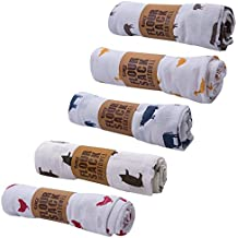 TAG Farm Fresh Floursack Kitchen Cotton Dish Towels- Assortment of 5 - Chicken, Cow, Sheep, Pig, Duck