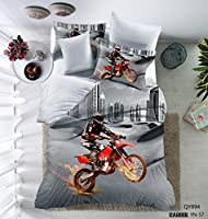 3D Motorcycle Pattern Boys Mens Duvet Cover Set Microfiber in the city Multi-color Grey