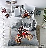 3D Motorcycle Pattern Boys Mens 3PC Duvet Cover Set Microfiber in the city Multi-color Grey Full