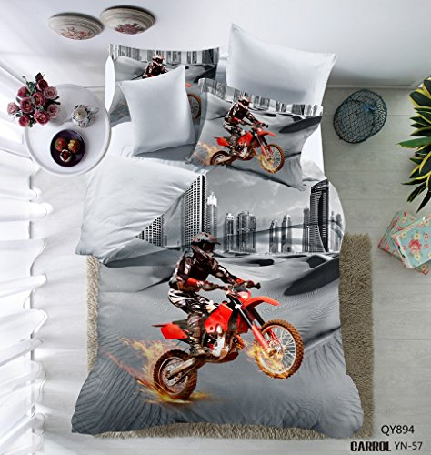 Fantastic Deal! 3D Motorcycle Pattern Boys Mens Duvet Cover Set Microfiber in The City 2PC Multi-Col...