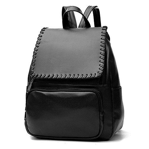 (JVP1035-B) mochila negro de cuero de LA PU de gran capacidad bolsa de viaje del bolso de las señoras bolsa hermosa bolso de hombro de 3 vías espalda moda popular escuela ligera suburbana Negro