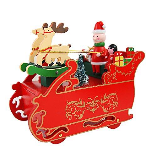 Santa Claus Box Music (Steam Locomotive Toys, Santa Claus and Elk Locomotive Toys, Christmas Deer Pull Music Box Gift Box Head Music Box Desktop Ornaments Decorations,Children Gifts, Birthday/Christmas Gifts. (Green))