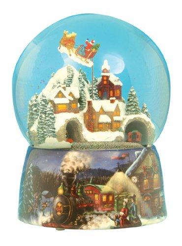 Claus Music Box Santa (Musicbox Kingdom 49001 Train Snow Globe Santa Music Box, Turns to The Melody Santa Claus Is Coming to Town)